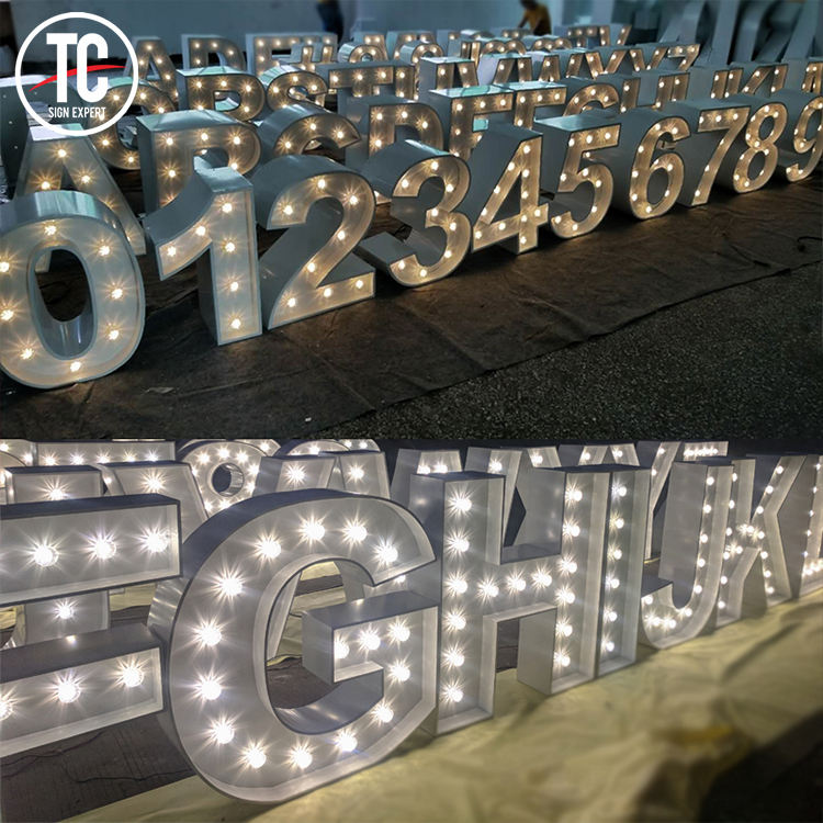 Large Metal Bulb Marquee Number 3D Giant Free Standing Metal Letter for Public Area