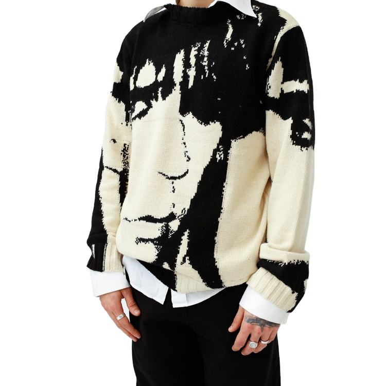 DiZNEW Sweater Manufacturer Thick Intarsia Pattern Knit Jacquard Sweater Men