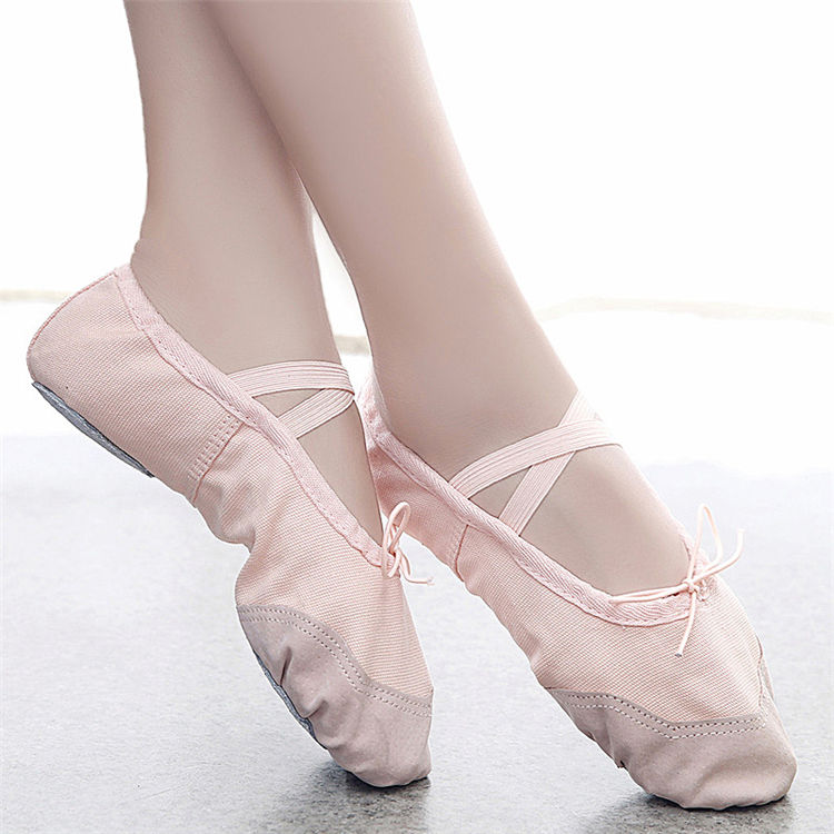Hot Ballet Shoes For Girls Women Canvas Yoga Gym Slippers Dance Shoes Ballet Shoes For Women Flats Red Black 24-45 Size