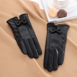 Cheap elegant PU touch screen warm winter women leather glov