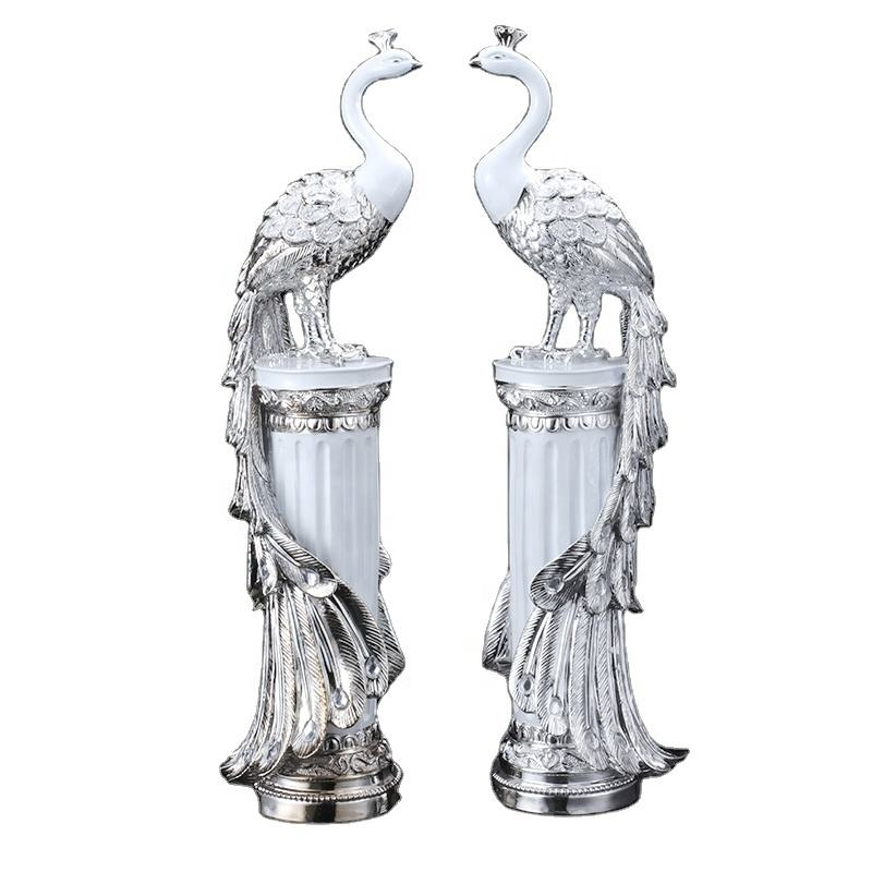 high quality animal resin craft Peacock statues sculpture Home decoration