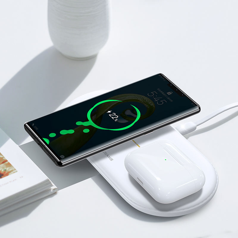 USAMS OEM Custom Logo 2 in 1 Portable Glass Fast Charger Wireless Charger For Phone And Earphone