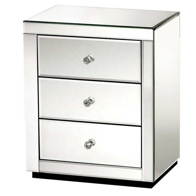 mirrored furniture modern clear mirror 3 drawer bedside table