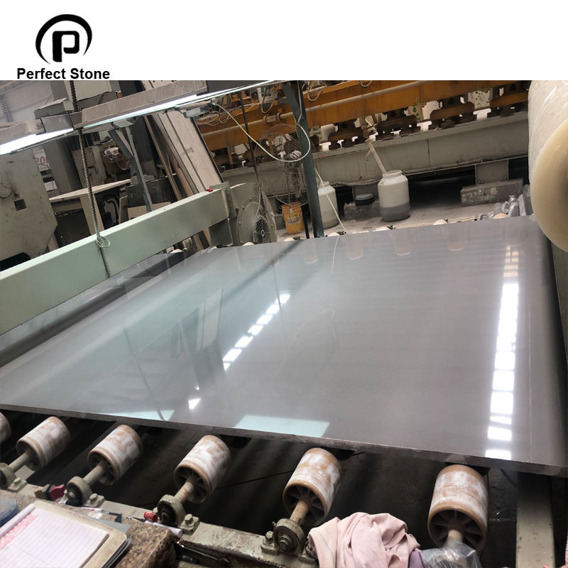 Pure grey polished artificial marble stone slab for hot sale
