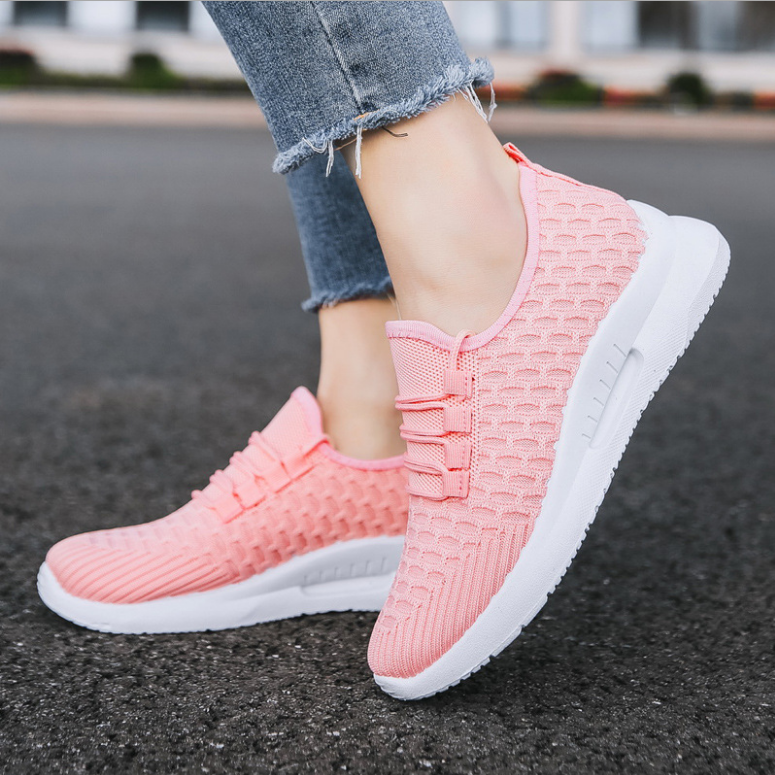 Wholesale fashion spring summer autumn flat weave mesh flat custom girl lovers womens mens casual daily sports walking shoes