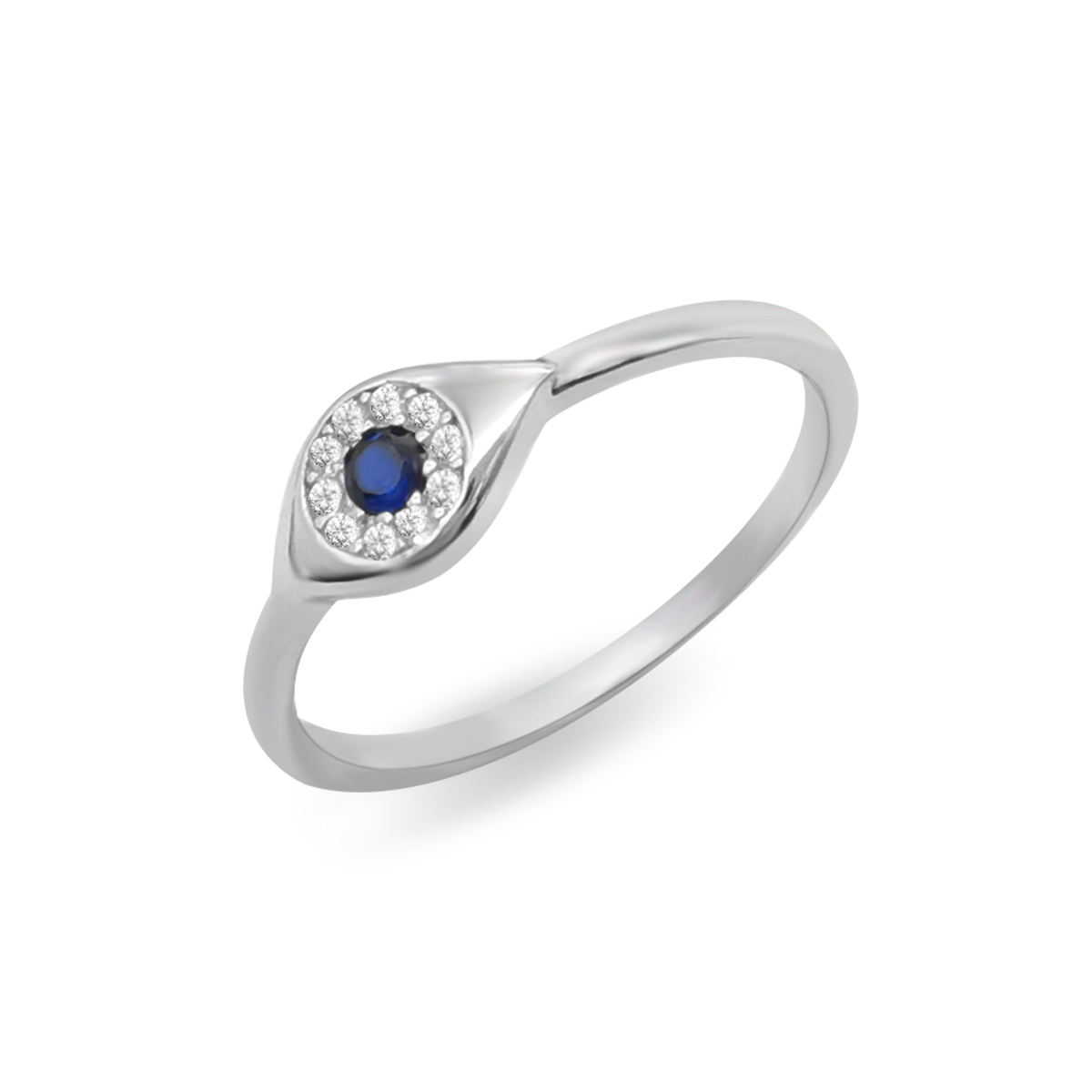 Trendy Silver Evil Eyes Ring, Small Gold Plated Sterling Silver Rings Color Stone Evil Blue Eye Jewelry