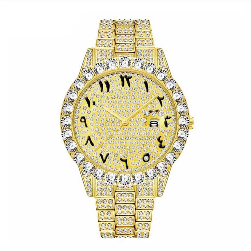 18k gold Arabic Numerals Mens Watches With Classic Male Iced Out Watch