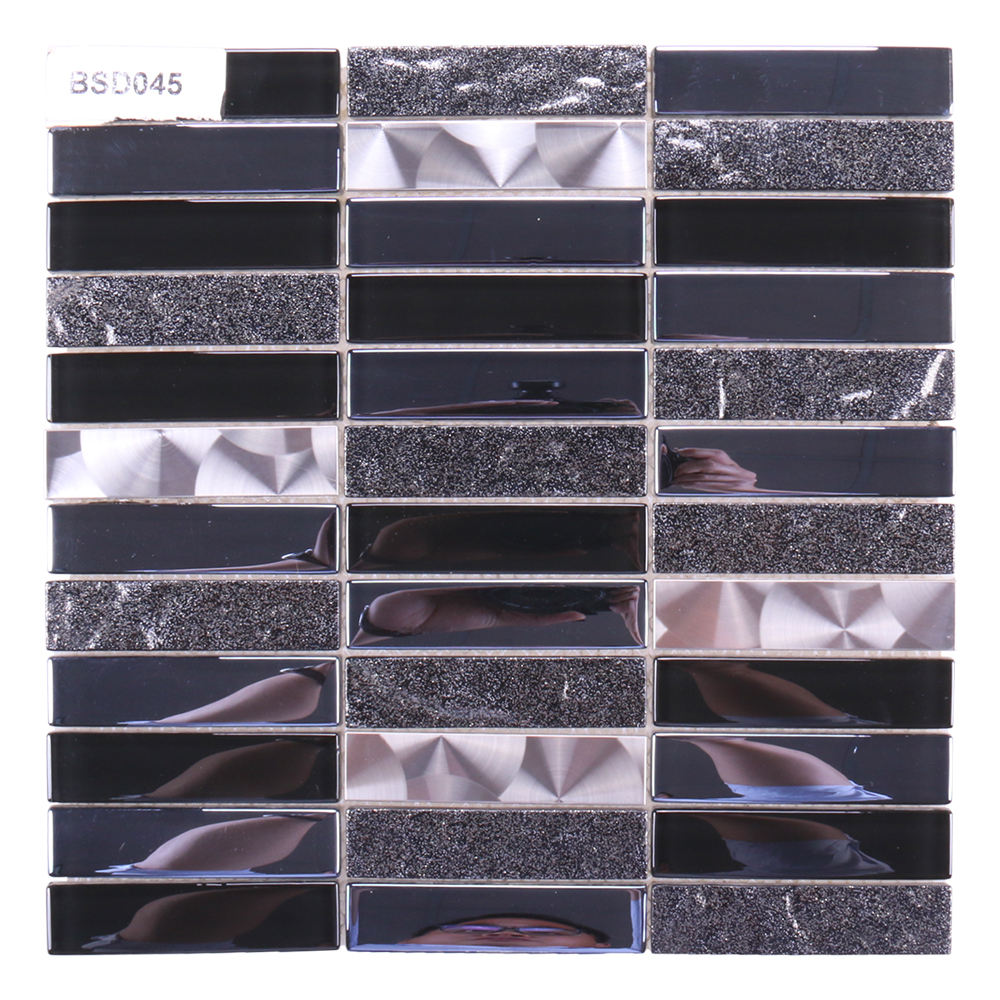 Guangdong latest design tiles mosaics black grey silver mirror glass mosaic kitchen backsplash