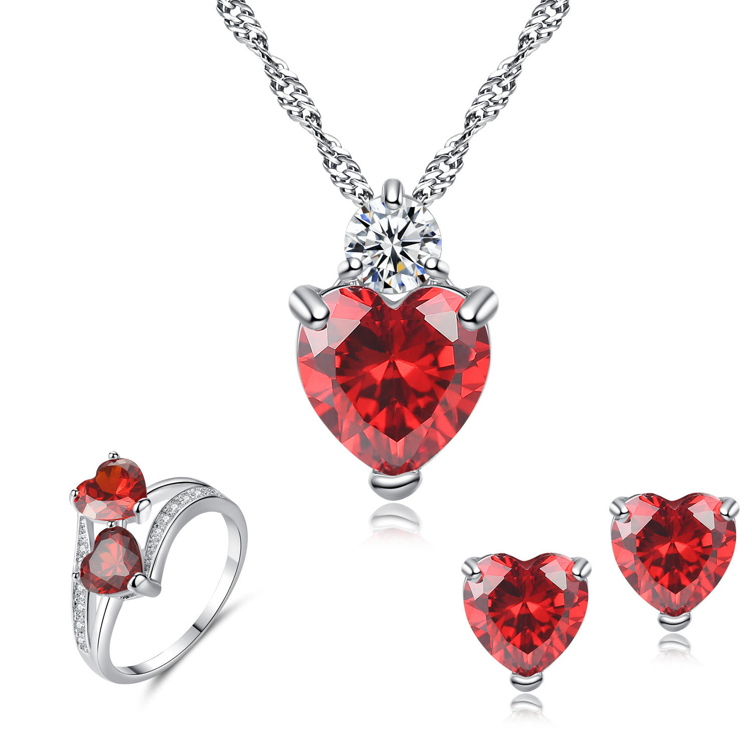 HPXmas Korean Red CZ Zircon Heart Ring Necklace And Earrings Wedding Fashion Jewelry Sets