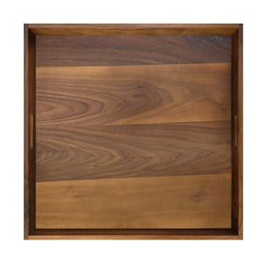 Rustic rectangle square USA premium black walnut extra large serving tray wooden