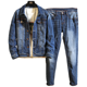 New Designed denim jacket plus jeans 2 pcs in set/suits for young men and young girls