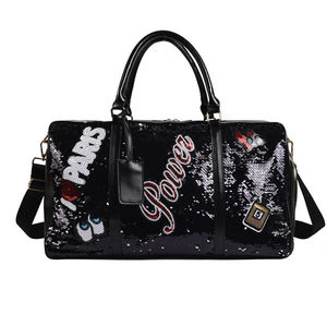 High quality waterproof sequins weekend bag ladies garment duffle bag for women