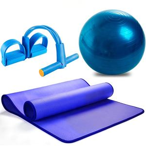 3Pcs Gym Sports Fitness Gym Mat Set 65cm PVC Balance Gym Exercise Fitness Yoga Ball NBR Yoga Mat Pedal Ttension Rope