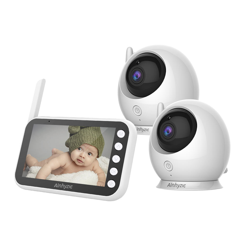 Video Baby Monitor with Two Cameras Wireless Wide Angle Lens Night Vision Security Baby Camera