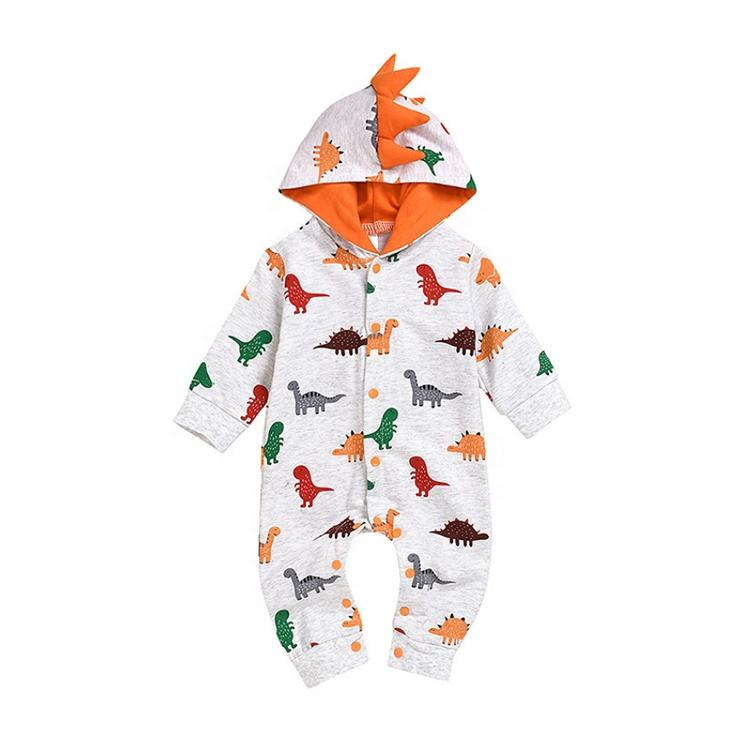 Lovely Cartoon Dinosaur Animal Design Pattern Custom Long Sleeve Baby Romper Clothes