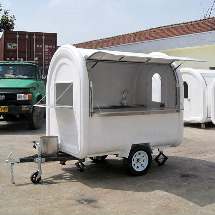 Retro food truck van mobile Breakfast Portable Moving BBQ snack trailer
