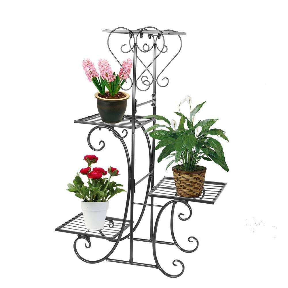 Wholesale supply powder coated black decoration iron plant stand metal flower pot rack wire wedding flower display stand