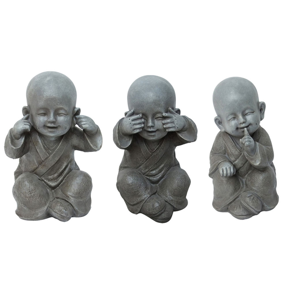 Chinese See No Say No hear No Evil Garden Resin baby Buddha Figurine