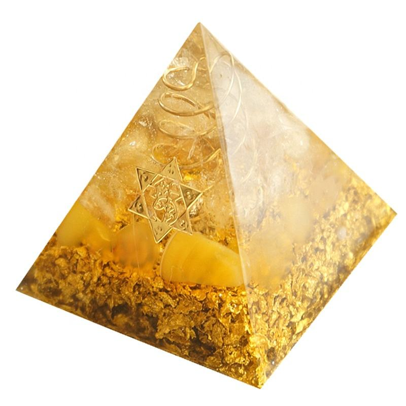 Orgonite Pyramid 5cm symbolizes the lucky citrine pyramid energy converter to gather wealth and prosperity crystal decor