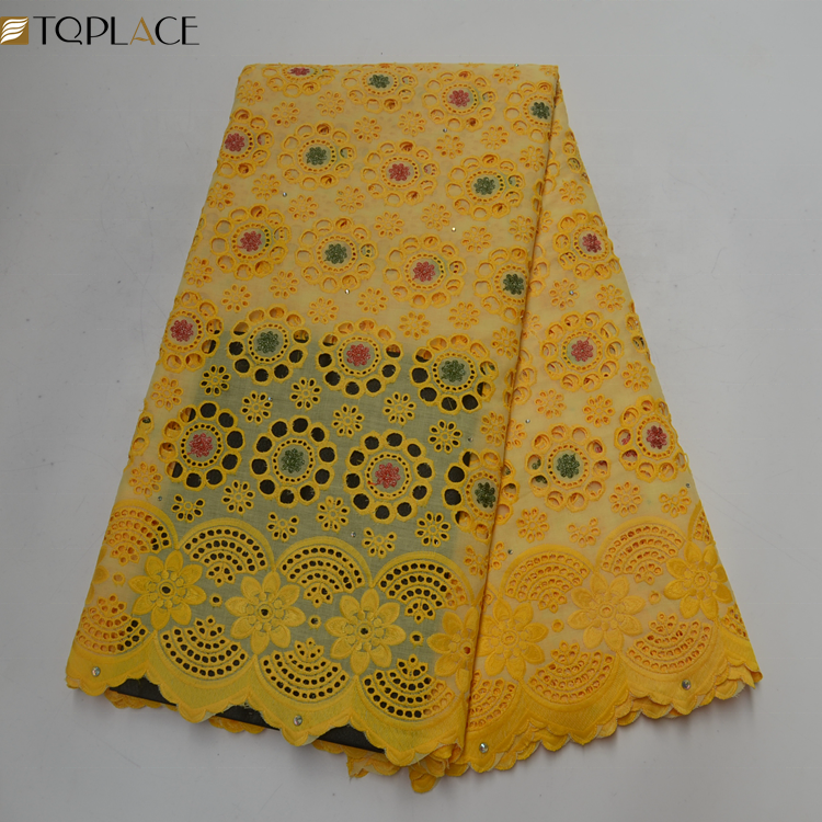 African yellow big swiss lace Cotton lace fabric suppliers Polish with stones Nigerian lace fabric 2019