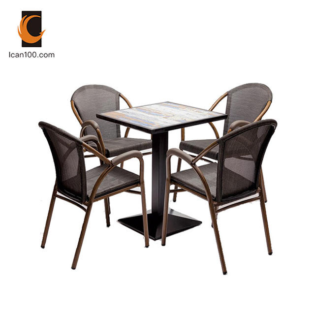 Hot Sale Aluminum Ratan Outdoor Garden Ceramic Tables Chair Furniture Set