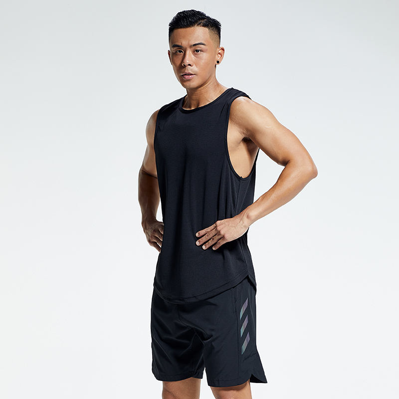 Quick Dry Custom Gym Clothes Men Running 100% Polyester Basketball Tank Top And Shorts Set Fitness Men's Sports Suit
