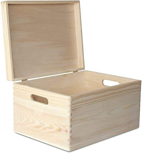 Large Wooden Box Storage Toy Wood Plain Unpainted Keepsake box with Handles