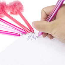Novelty Wholesale ball point pen Festival Decorations Vivid Pink Color Soft Feather Ballpoint Pen for Children