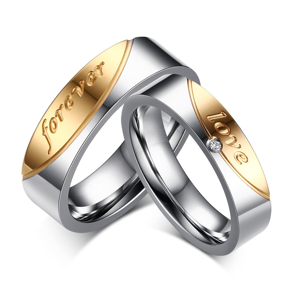 Hot Selling Couple Promise Rings Set Stainless Steel Finger Jewelry Wedding Rings for Men and Women