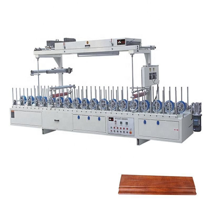 BXW300C upvc wpc automatic wood veneer profile wrapping machine