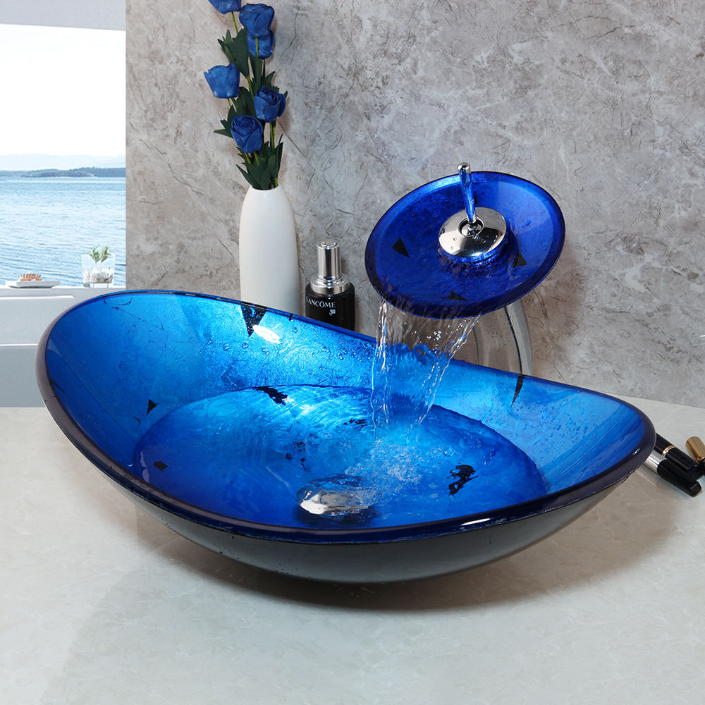 Bathroom Wash Combo Kit Tempered Glass Basin + Waterfall Soild Brass Faucet Blue Sink Set with Pop Up Drain