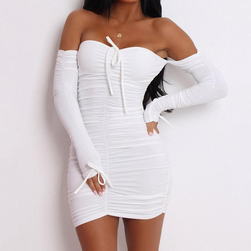 Sexy Mini White Off Shoulder Dress OEM Summer Casual Long Sleeve Bodycon Club Dresses
