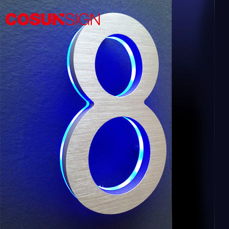 Stainless Steel Glow In The Dark Illuminated Metal Solar Led House Number Plate Sign