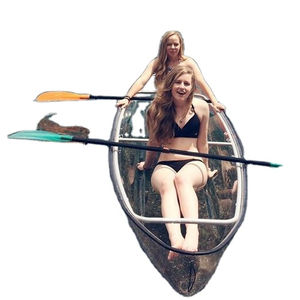 PC rowing boat 2 seats plastic clear canoe boat with paddles balance bar Transparent kayak