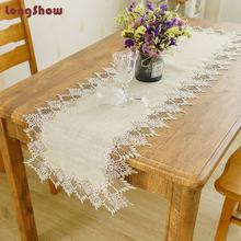 Natural linen Burlap Jute Hemp Decoration Wedding Party Table Runner With Trim Lace