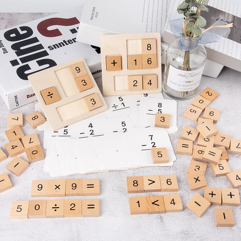 Wooden Montessori Mathematics Math Addition Subtraction Multiplication Division Count Kids Toys