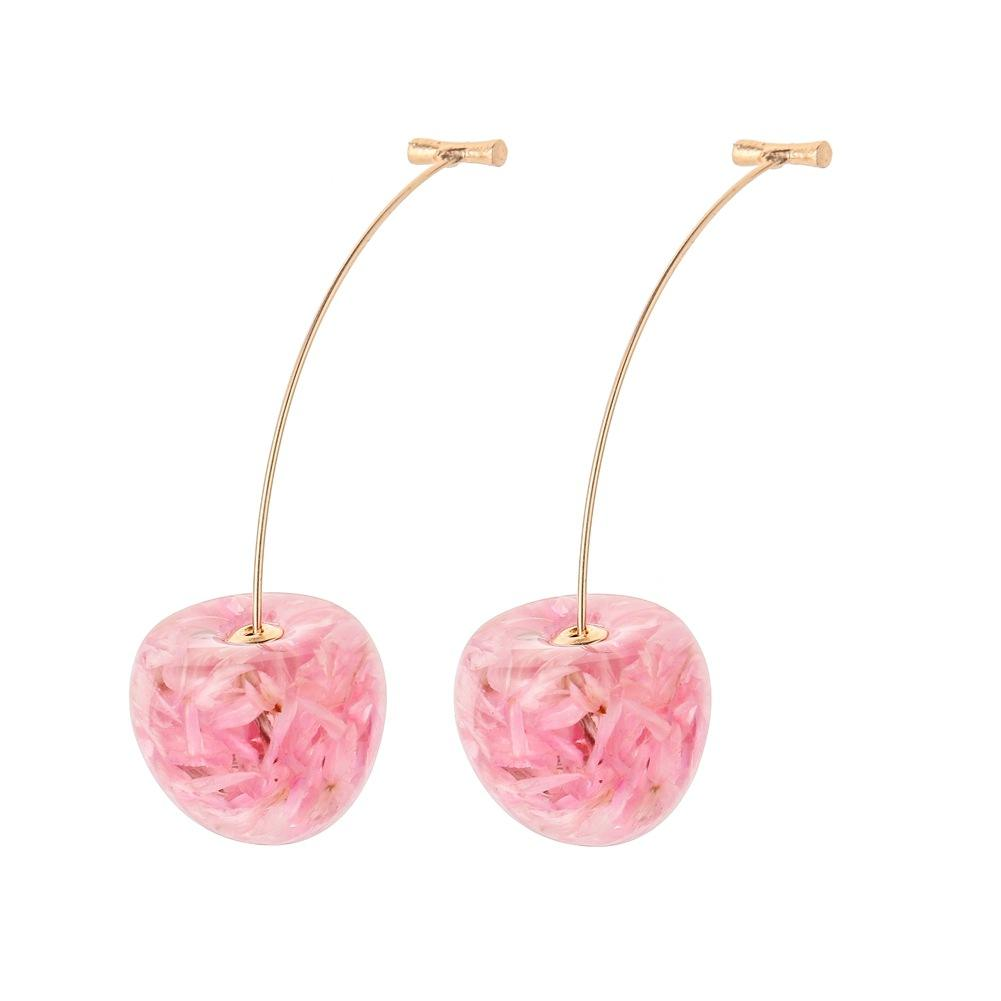 VRIUA 2020 New Design Cherry Shaped Drop Earrings For Women Sweet Girls Cute Brincos Line Pendientes Fruit Jewelry