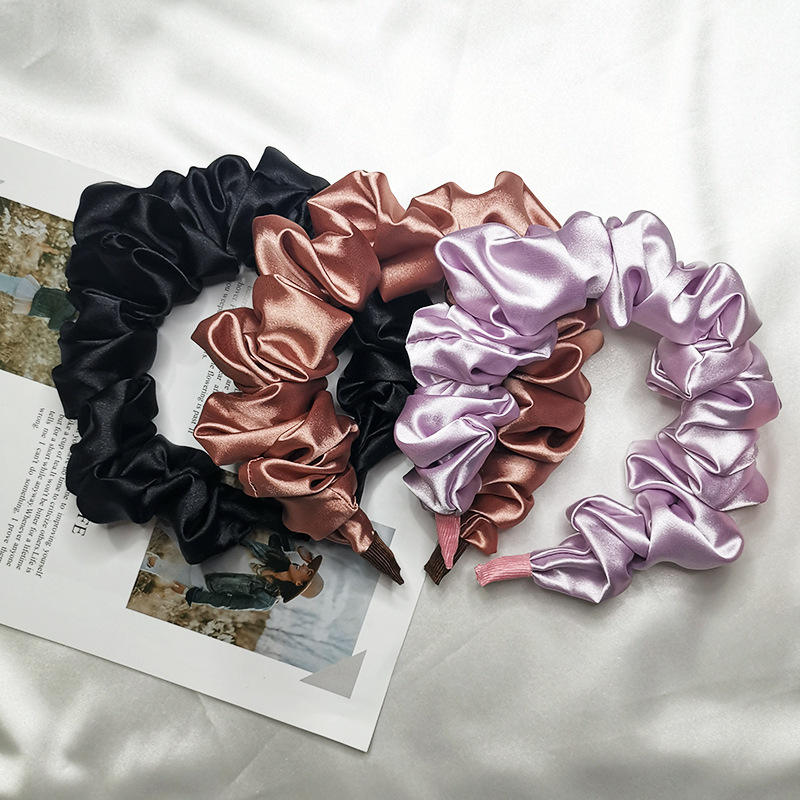 Luxury folds hair accessories plastic fabric covered satin headbands for women