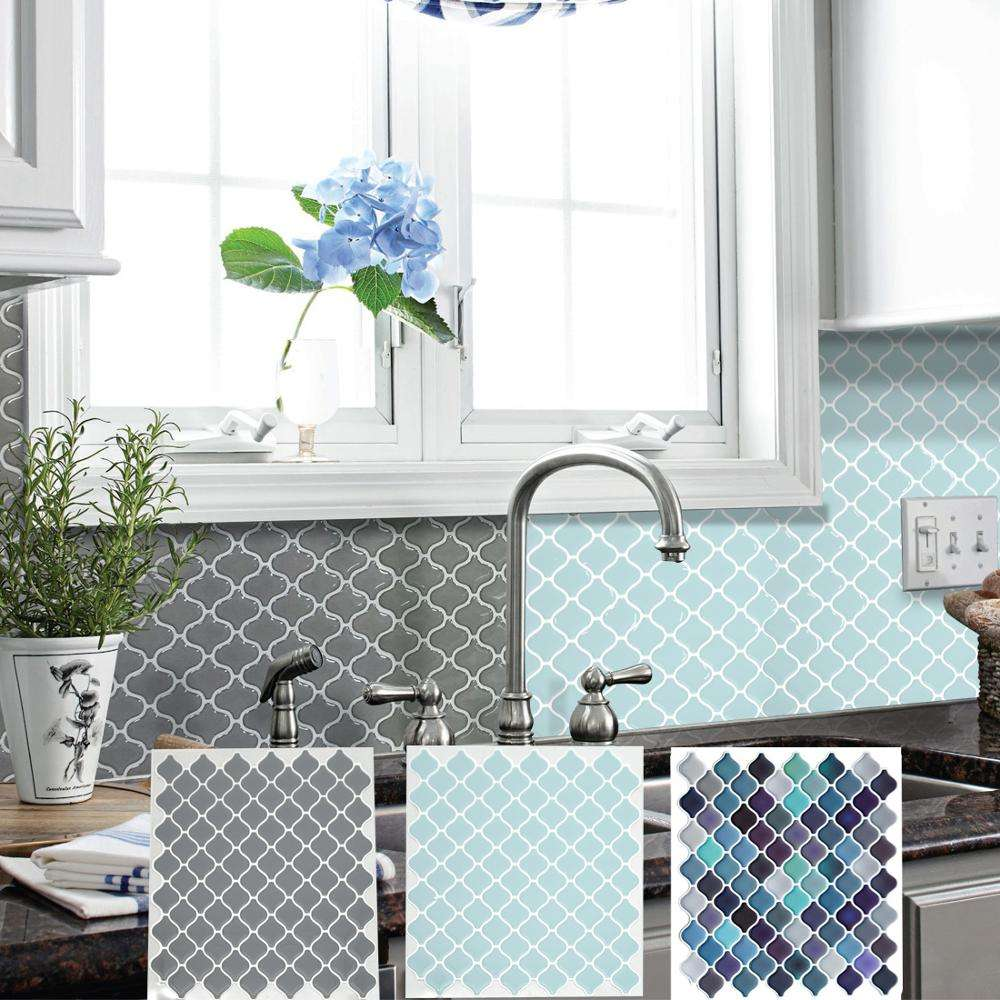 Grey White Tile Peel And Stick Backsplash Self Adhesive Wall Decal Sticker DIY Kitchen Bathroom Home Decor Vinyl 3D