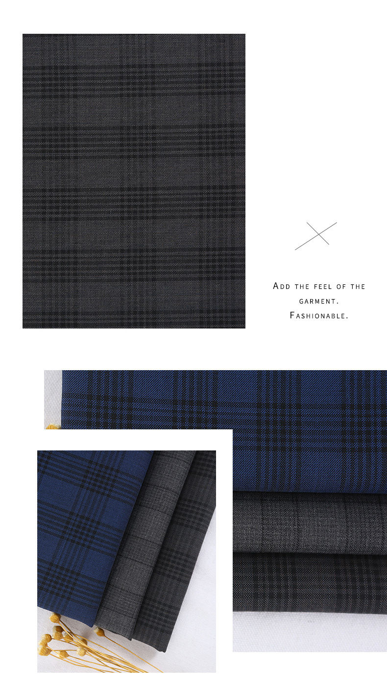 Wholesale Worsted Wool Polyster Plaid Suit Fabric For Autumn And Winter Suit Jacket Coat