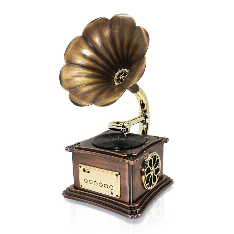 Mini Vintage Retro Classic Gramophone Phonograph Shape Stereo Speaker BT Aux-in/USB Flash Drive
