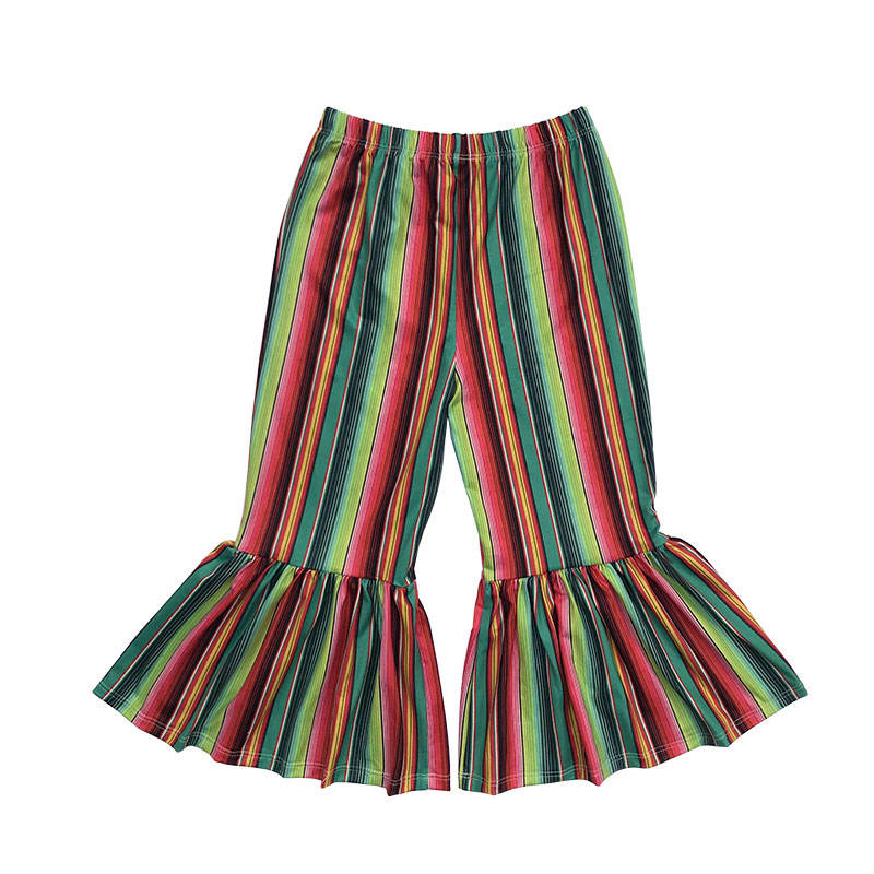 Wholesale kids girls flare ruffle rainbow striped leggings casual wide leg pants for autumn