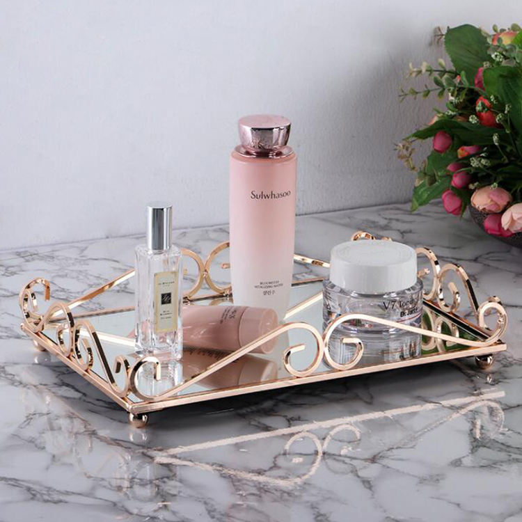 Wholesale home decorative nordic style mirrored cosmetic tray luxury perfume mirror tray