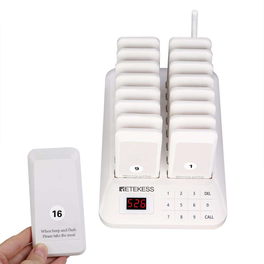 White wireless waiter call system Transmitter 16 rechargeable pager for small restaurants outdoor dining cars Retekess TD157