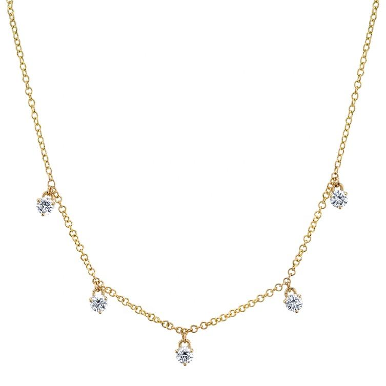18K <span class=keywords><strong>Goud</strong></span> 925 Sterling Silver Cubic Zirkoon Station Gold Choker Ketting