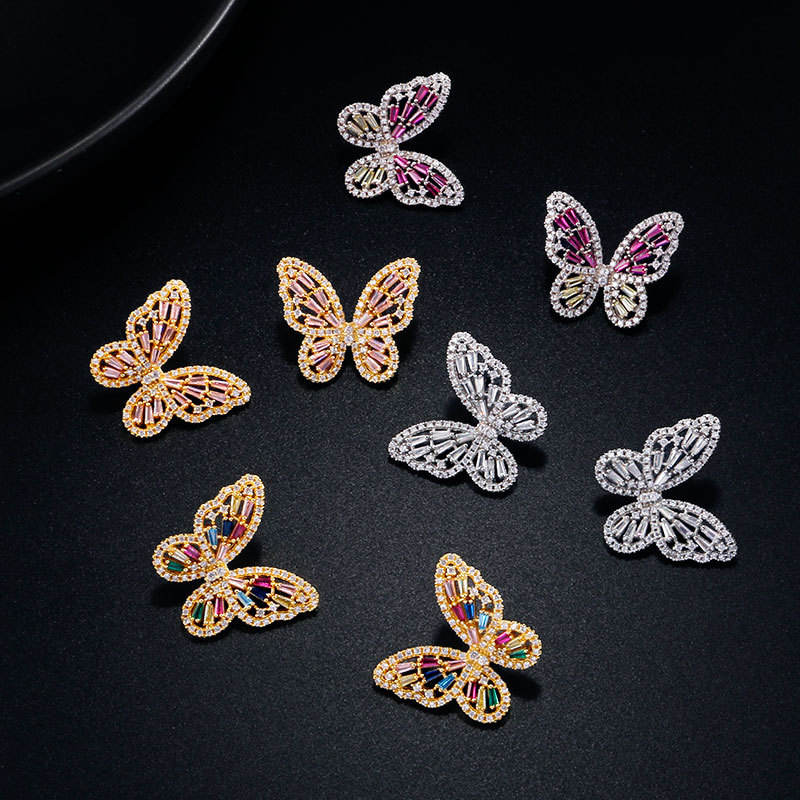 Korean Fashion CZ Zirconia Butterfly Earrings Jewelry Luxury Gold Plated Butterfly Stud Earrings for Women