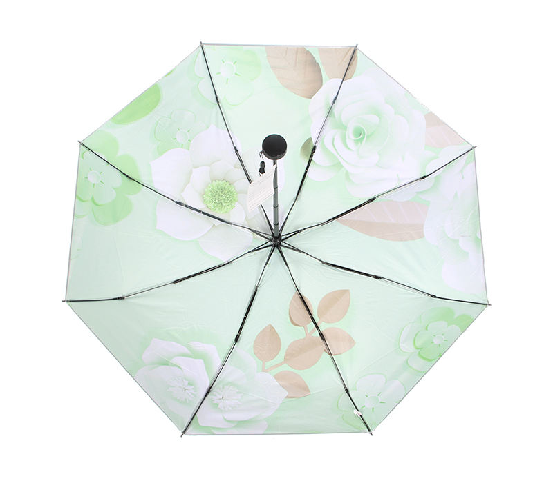 Color Coating Umbrella Green Top Quality Shinny Silver UV Cut 5 Folding Green Flower Portable Mini Umbrella