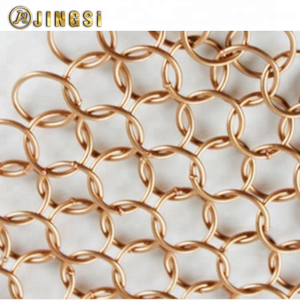 1.2mmx 10mm Decorative looped Metal Ring Mesh For Lamp Cover