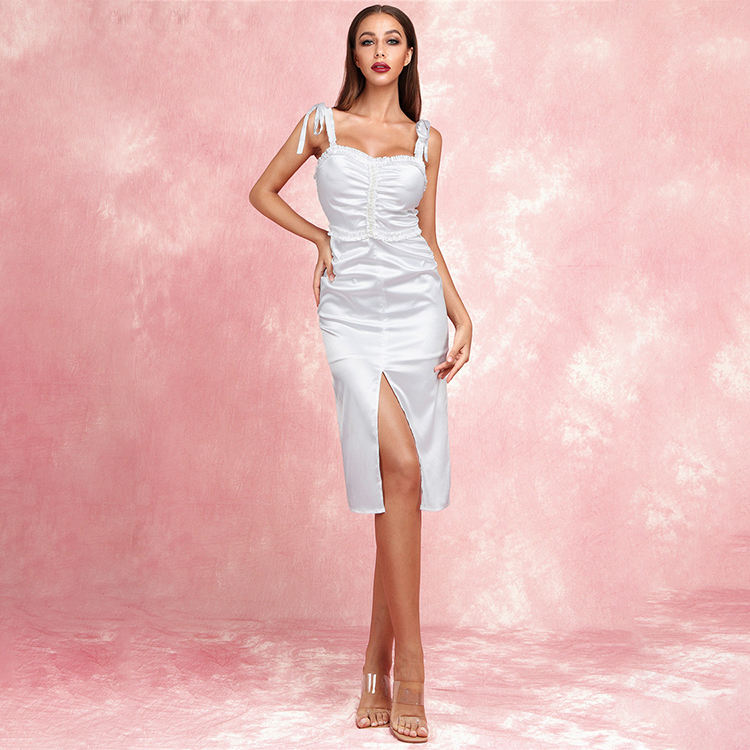 Fashion Sexy Lace Tight Dress Ladies Split Fork Party Slim Evening Dress