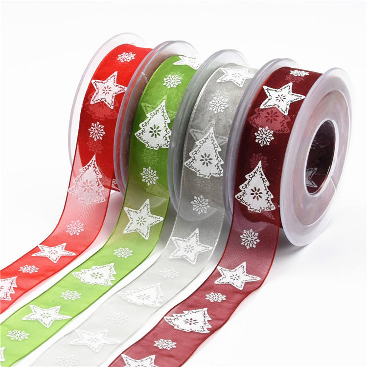 2.5cm foam printing Chiffon ribbon Christmas flower gift packaging polyester ribbon